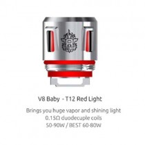 SMOK - V8 Baby - T12 Red Light (0.15 ohm) Replacement Coil 5pcs